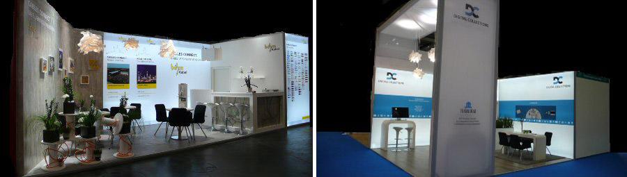 Messebau individuell: Messestand mit Sitztischgruppen und Grafikwand Düsseldorf